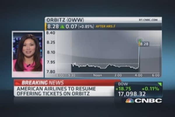 American Airlines to resume offering tickets on Orbitz