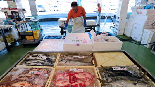 Fish for sale at Onahama fishing port in Iwaki