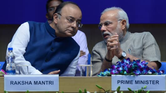 Prime Minister Narendra Modi with Defence Minister Arun Jaitley