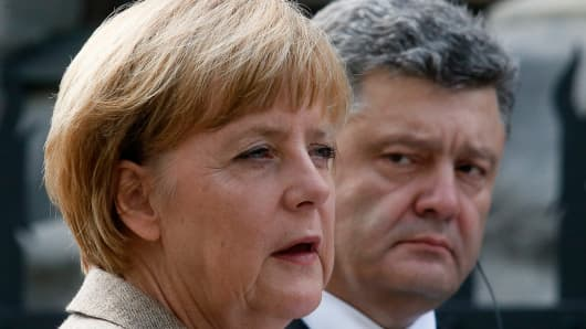 German Chancellor Angela Merkel speaks during a news conference with Ukraine's President Petro Poroshenko in Kiev in late August.