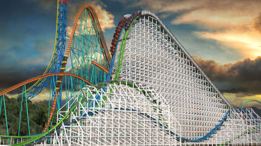 Rendering of the Twisted Colossus ride at Six Flags Magic Mountain in California will recast the 36-year-old wooden Colossus into a hybrid with a state-of-the-art Iron Horse Track.