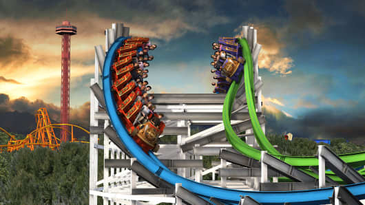 "An artist rendering of the planned Twisted Colossus ride at Six Flags Magic Mountain will feature the Western Hemisphere's first ""High Five"" element, and a zero-G roll."