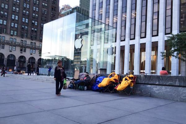People outside Apple store on Fifth Avenue in New York.