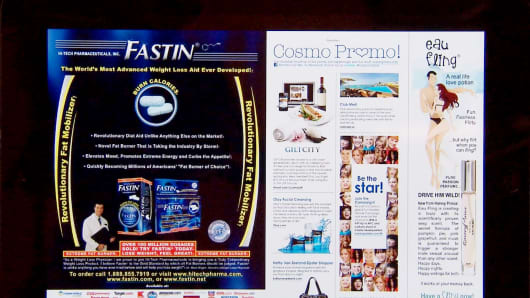 Hi-Tech Pharmaceutical's product Fastin advertised in Cosmopolitan.