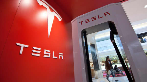 A vehicle charger at a Tesla Motors store