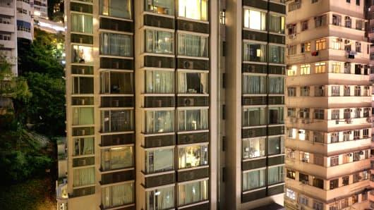 Apartment Windows In Downtown Hong Kong