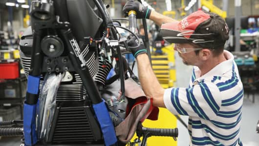 The Victory motorcycles assembly line at the Polaris Industries factory on Aug. 8, 2014, in Spirit Lake, Iowa.