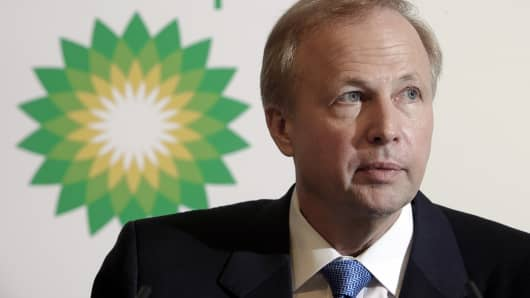 BP CEO Bob Dudley pauses during a news conference at the company's headquarters in London.