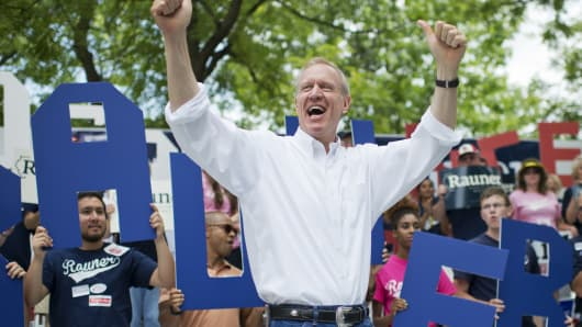 Bruce Rauner, Republican candidate for Illinois governor, addresses the crowd during Republican Day at the Illinois State Fair in Springfield, Aug. 14, 2014.