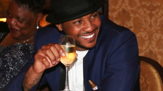 Carmelo Anthony attends his '30 for 30' birthday dinner at The NoMad Hotel on June 2, 2014 in New York City.