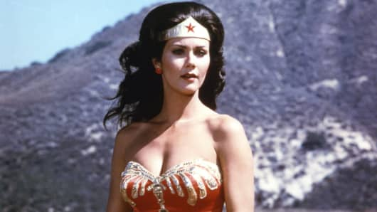 Actress Lynda Carter stars in the television series 'Wonder Woman,' circa 1975.