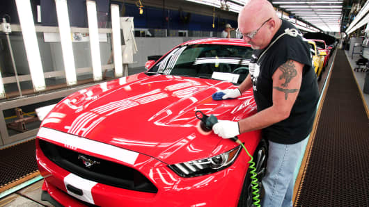A worker polishes a Ford Mustang in Flat Rock, Mich.