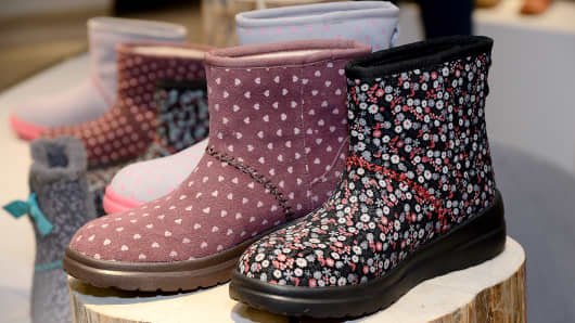 UGG boots are on display during the launch of I Heart UGG at a Nordstrom department store in Los Angeles, August 9, 2014.
