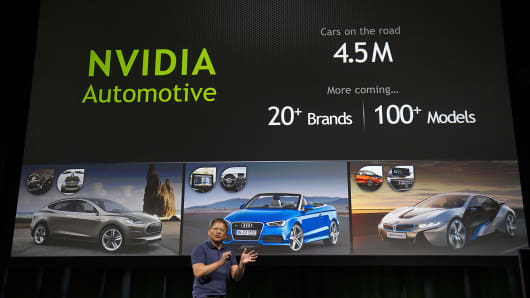 Jen-Hsun Huang, co-founder and chief executive office of Nvidia Corp., speaks during a press conference.