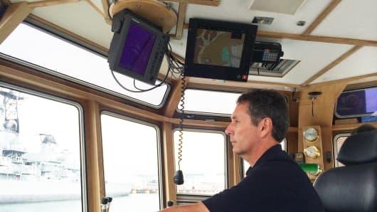"""Capt. Steve Peckham, captain of Crowley Martime's L.A. tugboat """"Scout"""""""