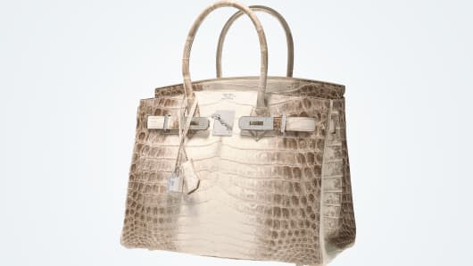 A Hermes Diamond Himalayan Birkin bag is up for auction.