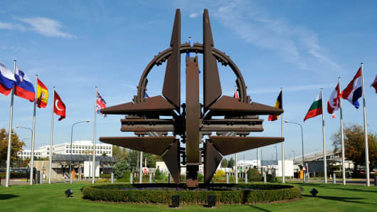The NATO emblem sculpture at the organization's headquarters in Brussels.