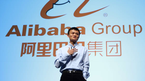 Jack Ma, founder and executive chairman of Alibaba Group, speaks during a news conference in Tokyo.