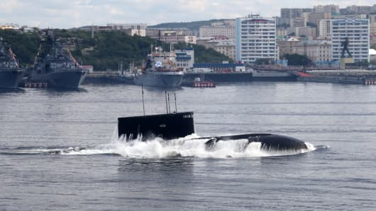 Russian kilo-class submarine Kaluga is seen during the Navy Day Military parade in Severomorsk.