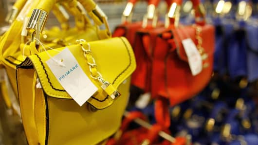 File photo: Handbags sit on display in a Primark store at the Westfield Stratford City Mall in London, U.K.