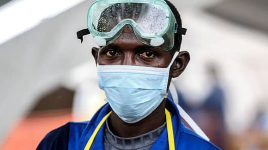 A health officer at a state hospital in Kenema, Sierra Leone on Aug. 23, 2014.