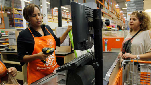 Home Depot cashier at a Miami store.