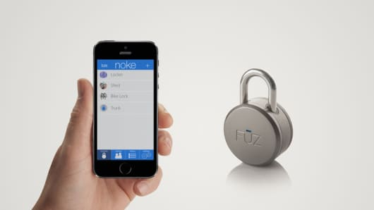 The Noke padlock by Fuz uses a signal sent via Bluetooth to your smartphone to secure your valuables, making traditional padlocks and keys a thing of the past.