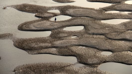 The Hanjiang River during its dry season in Shiyan, central China's Hubei province.