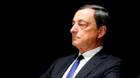 European Central Bank President Mario Draghi attends a tribute to the late economist and lawmaker Luigi Spaventa in Milan, Sept. 27, 2013.