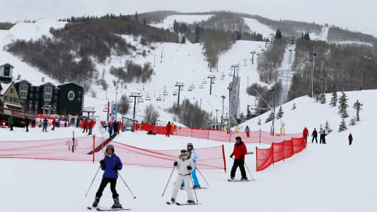 File photo of skiers at the Park City Mountain Resort, January 30, 2014 in Park City, Utah.