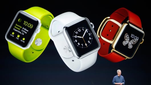 Apple CEO Tim Cook speaks about the Apple Watch during an Apple event at the Flint Center in Cupertino, California, Sept. 9, 2014.