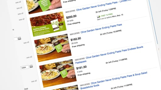 Olive Garden Never Ending Pasta Pass for sale on eBay