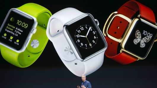 Apple CEO Tim Cook announcing the Apple Watch.