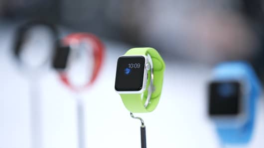 The Apple Watch during an Apple event in Cupertino, California
