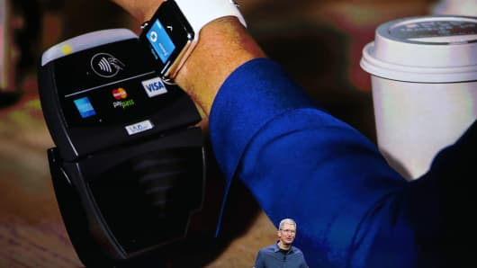 Tim Cook announced Apple Pay during a company special event at the Flint Center for the Performing Arts on Sept. 9, 2014 in Cupertino, California.