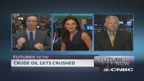 Futures Now: Crude falls hard