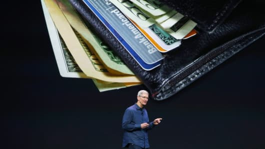 Apple CEO Tim Cook speaks about Apple Pay during an Apple special event at the Flint Center for the Performing Arts on September 9, 2014 in Cupertino, Calif.