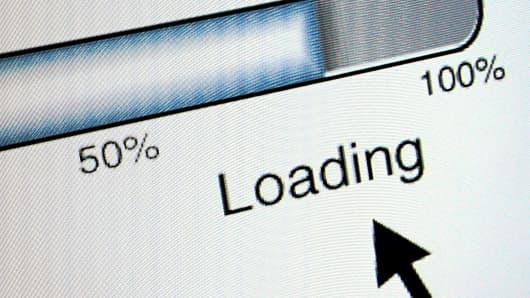 Computer screen displaying loading bar