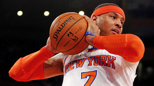New York Knicks' Carmelo Anthony rebounds the ball during Game 5 of the 2013 Eastern Conference semifinal against the Indiana Pacers at Madison Square Garden in New York.