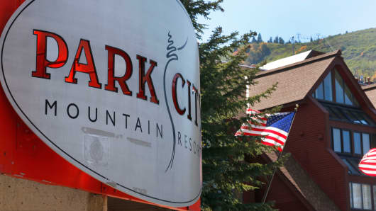 Flags fly on condos at the Park City Mountain Resort on Sept. 2, 2014, in Park City, Utah.