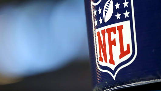The NFL Logo is shown on a goal post at Ford Field in Detroit.
