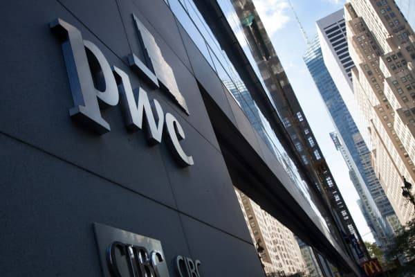 PWC signage on building in New York