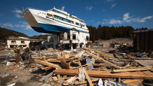 A catamaran sightseeing boat, sits atop a two-story Japanese inn on April 3, 2011 in Iwate Prefecture, Japan.