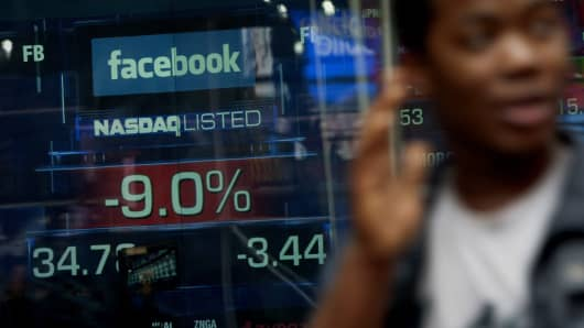 Shares of Facebook fell below the $38 offer price in the second trading day.