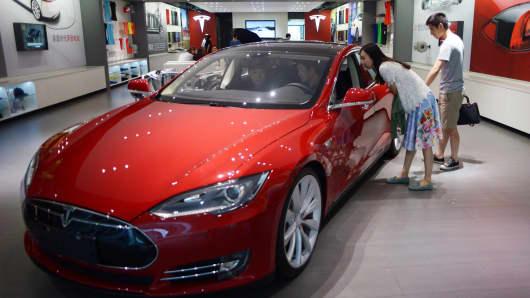 A Tesla showroom in Beijing on July 9, 2014.