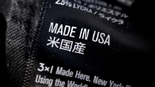 The words 'Made in USA' are displayed on the label on a pair of denim jeans.