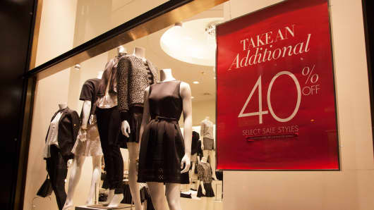 Window display of an Ann Taylor store on Fifth Avenue in New York.