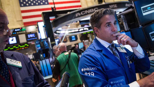 A trader works on the floor of the New York Stock Exchange on September 15, 2014 in New York City.
