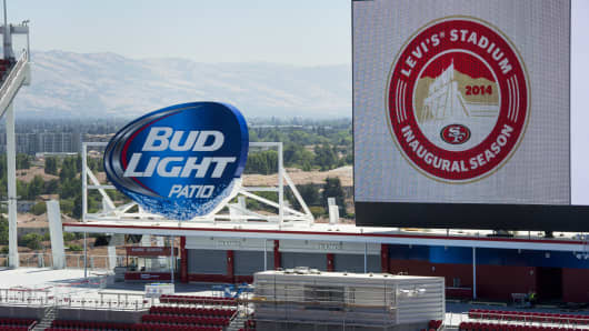 Sponsor signage at the new Levi's Stadium in Santa Clara, Calif., Aug. 13, 2014