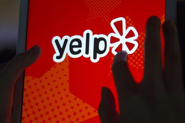 The Yelp app on an Apple iPad Air